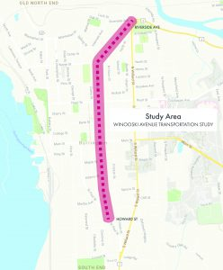 The study area map shows the study area along Winooski Avenue from the intersection with Riverside Avenue to the intersection of Howard Street at St. Paul Street.