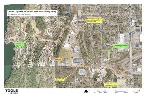 A map of the project area for the Queen City Park Road project in Burlington and South Burlington.